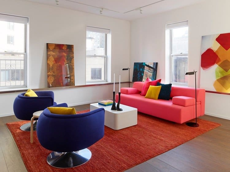 colorful living room of a tiny functional apartment in NYC