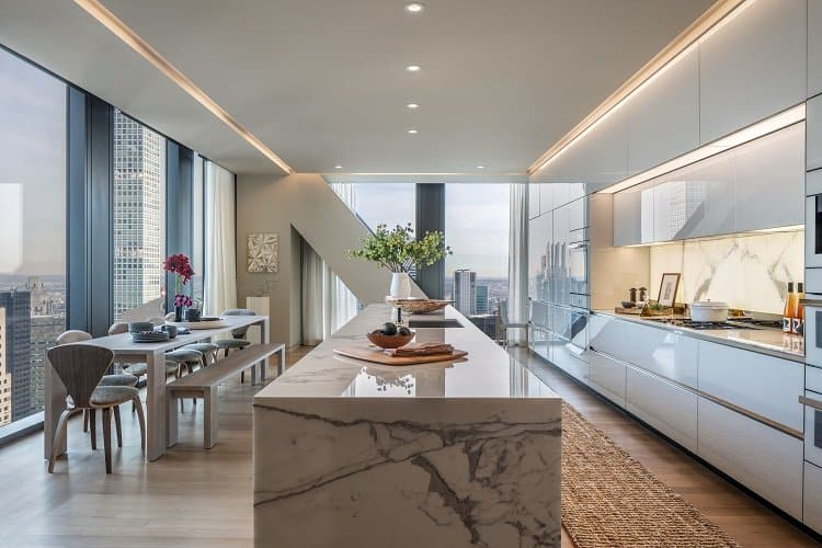 luxurious kitchen with marble countertops and custom cabinetry