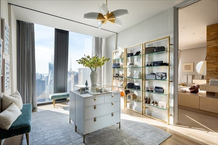 luxury walk-in closet in a $50 million home in the sky