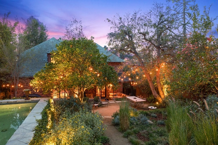 whimsical backyard of Walton Goggins' home in Los Angeles