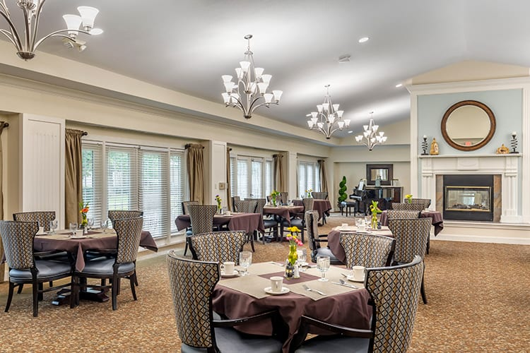 Dining room at the Brookdale Stonebridge Ranch, a top-rated assisted living and Alzheimer's and dementia care community in  McKinney, TX.