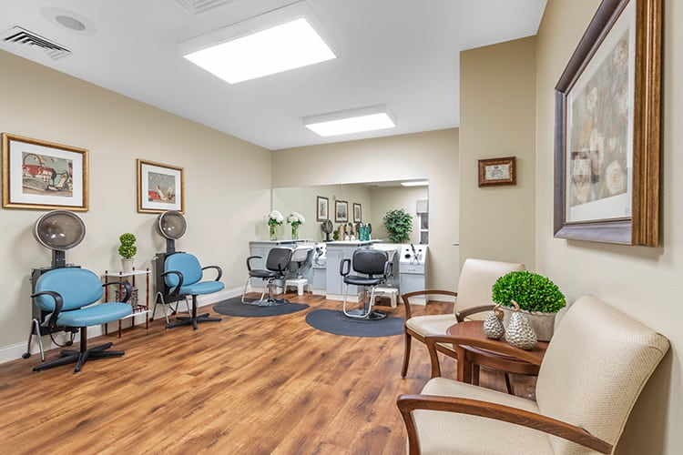 senior living communities offer many useful on-site amenities, like barber shops, or beauty salons, so that their residents don't have to stray far from home