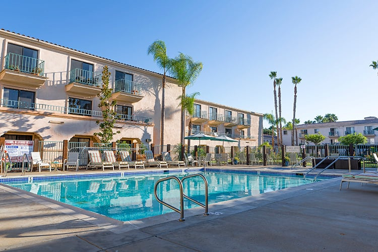 The pool area at a top rated senior community, Brookdale San Marcos