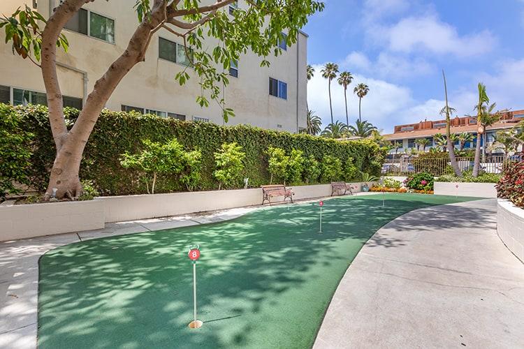 Putting green in a senior living community, Brookdale Ocean House in Santa Monica, CA