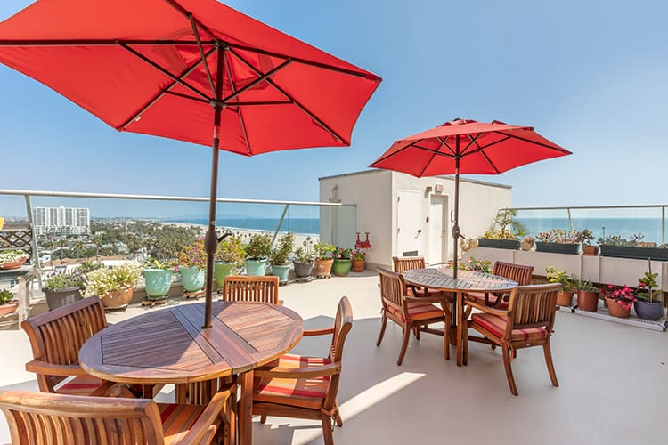 Roof patio overlooking the ocean at a top-rated senior living community in Santa Monica, west of downtown Los Angeles,