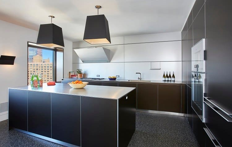 luxury kitchen decorated in dark colors and clean lines