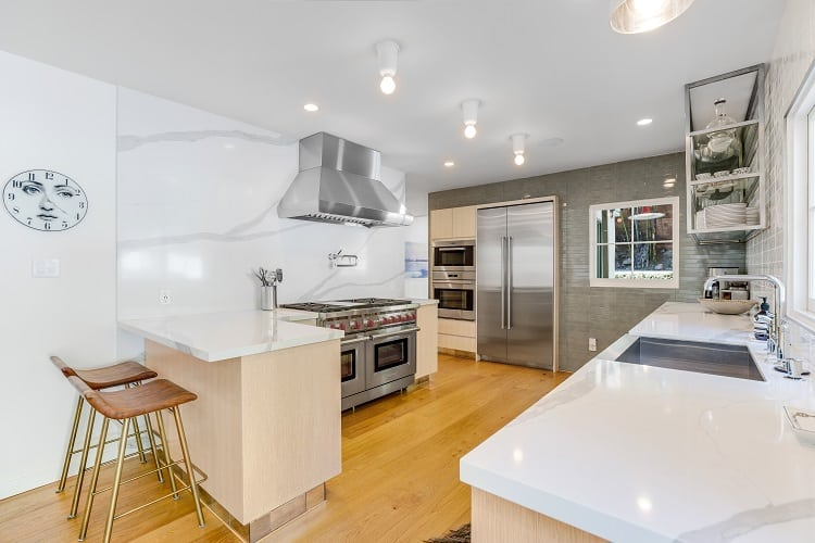 renovated chef's kitchen of a million dollar home in west hollywood, los angeles