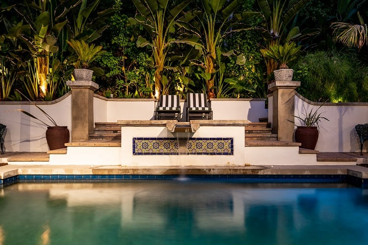 sparkling pool in a beautiful spanish villa in west hollywood, los angeles