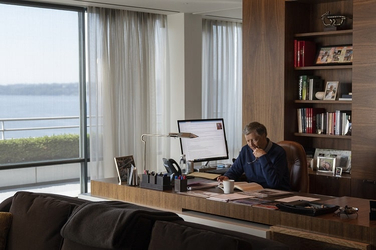 bill gates in his home office