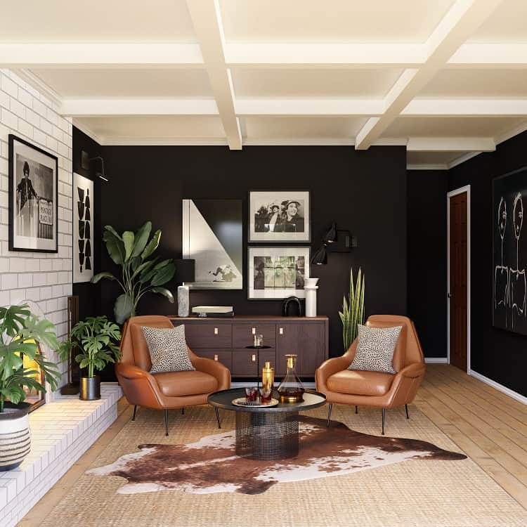Perfectly appointed space that uses contrast and pops of color to enhance the design of the room.