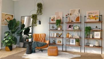 refined interior décor with ladder shelves