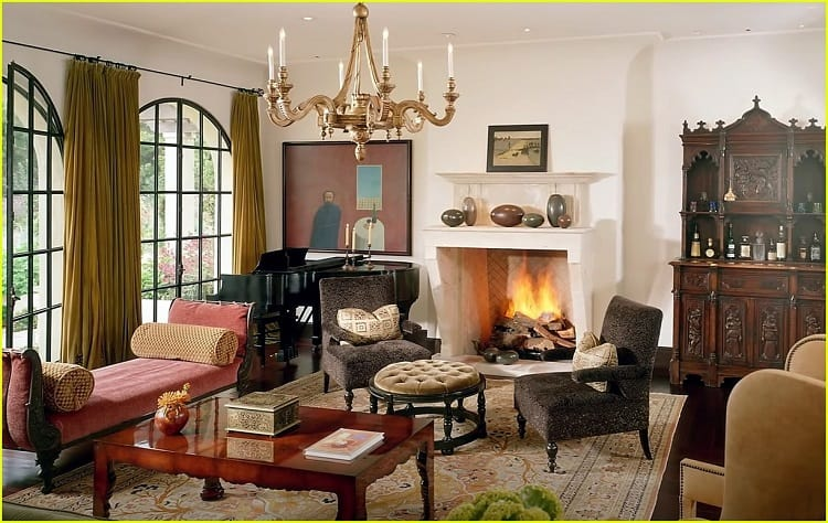 fireplace and living room inside dwayne johnson's new house in los angeles