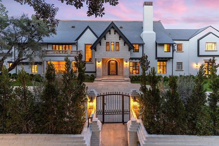 exterior of an elegant estate in beverly hills, north of Sunset Boulevard