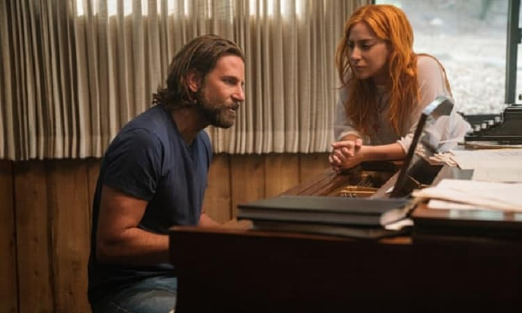 bradley cooper as jackson maine and lady gaga as ally in a scene from 'a star is born'