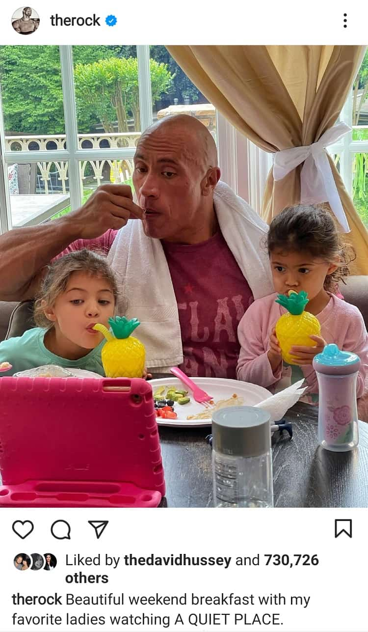 dwayne johnson and his daughters having breakfast at home