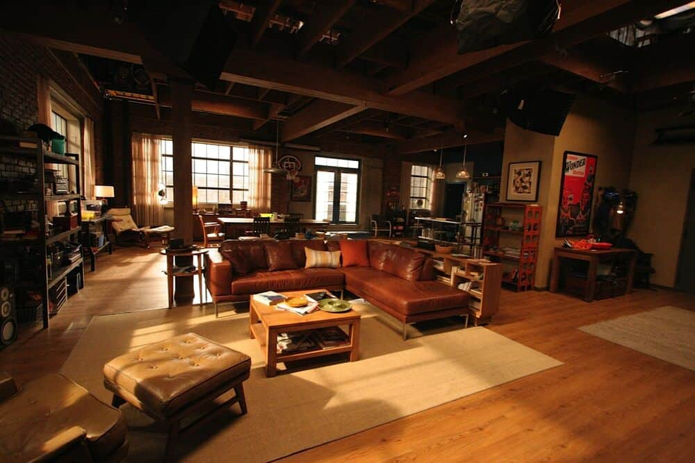 the interiors of the loft from The New Girl TV show